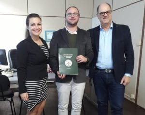 Emiliana Avila, Maicon Lemos, secretário de Saúde de Rio Grande, e Renato Minozzo